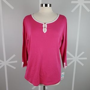 NWT Karen Scott 0X Pink and White 3/4 Sleeve Top
